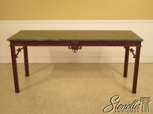 28728e Chinese Chippendale Green Marble Top Mahogany Library Table