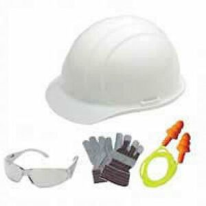 Hire Kits White Hard Hat Safety Gloves Ear Plugs Clear Glasses Lot 6