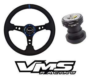Vms Racing Pilota Leather Steering Wheel Quick Release Hub For Honda Blue