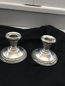 Vintage Antique Sterling Silver Reinforced With Cement Candle Holders