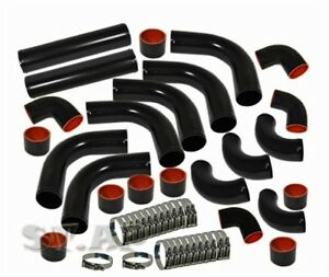 Universal Engine 2 5 Inch Aluminum Turbo Intercooler 12pc Piping Pipe Kit Black