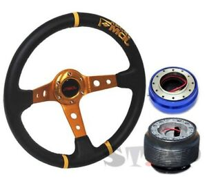 Honda Jdmsport Deep Dish 350mm Steering Wheel Gold center hub quick Release Blue