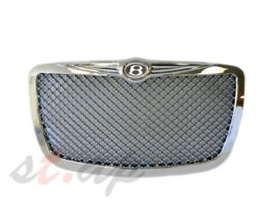 05 10 Chrysler 300 300c Mesh Bentley Style Front Grill Grille Chrome B Emblem