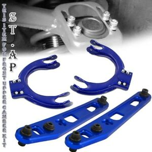 88 91 Civic Integra Ef Jdm Rear Lower Control Arm Front Upper Camber Kit Blue