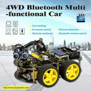 4wd Bluetooth Multi functional Diy Smart Car For Arduino Robot Education
