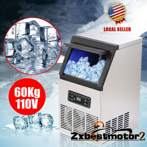 60kg 132lbs Auto Commercial Ice Cube Maker Machines Bar Freezers 110v 230w Us