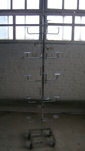 Retail Store Fixture Chrome Display 20 Hats Hat Rack W Wheels