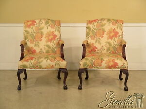 L23059 Pair Baker Chippendale Claw Foot Mahogany Library Chairs