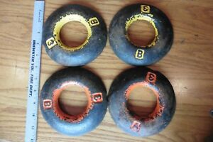 Lot Of 4 Vintage Quoits Cast Iron Weights Rings 3 A B Scale 3lbs Marker