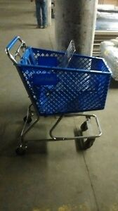 Small Shopping Carts Mini Used Store Fixtures Blue Gray Plastic Baskets Blowout