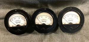 Lot Of 3 Vintage Triplett 0 150 Watt Panel Meter Gauge Steampunk