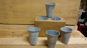 6 Primitive Sugar Mold Galvanized Colored Tin Replacement Candle Cups