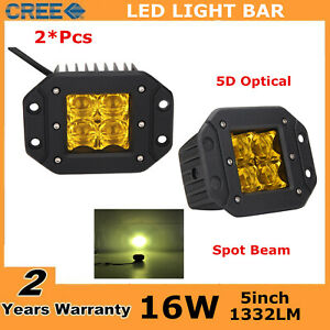 2x 24w Square Amber Cube Flood Led Work Light Bumper 4x5 Yellow Ford Fog 5d 16