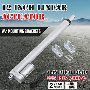 12 Inch Silver Linear Actuator Stroke 225 Pound Max Lift Output 12v Volt Dc