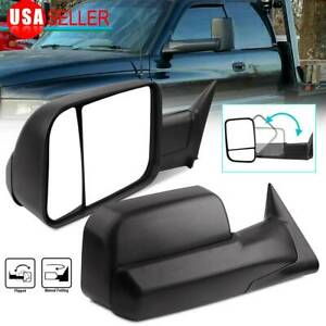 Driver Passenger Side Manual Flip Up Tow Mirrors 94 02 Dodge Ram 1500 2500 Truck