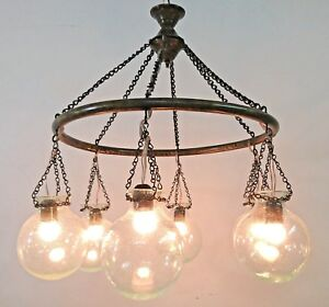 Br405 Antique Style 6 Mouth Blown Ball Globes Glass Brass Ring Large Chandelier