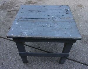 Vtg Antique Small Country Primitive Wood Table Bench Original Blue Gray Paint