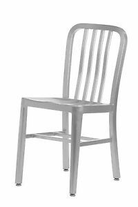 Set Of 2 Aluminum Navy Style Restaurant Dining Chairs Indoor outdoor Use