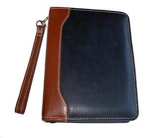 Franklin Quest Leather Blue With Tan Trim Compact Usa Vintage Planner Binder