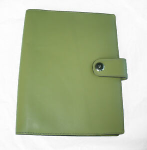 Franklin Covey Classic Leather Planner Wirebound Cover Lime Green