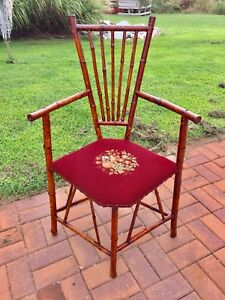 Early Antique Bamboo Corner Chair With Embroidered Seat