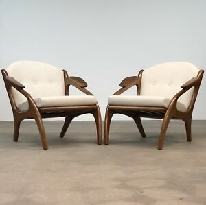 Adrian Pearsall Pair Walnut Lounge Chairs By Craft Associates Mid Century