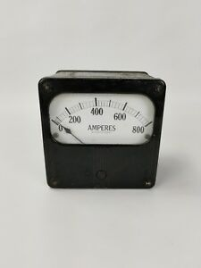 Antique Industrial Amperes Amp Ac Meter In Metal Box Steampunk Prop Stage Decor