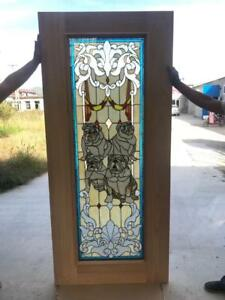 Great Hand Made Stained Leaded Glass Bull Dog Door Interior Or Exterior Jbd59