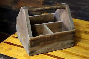 Vintage Primitive Small Wood Tool Caddy Carrier Tote Divided Nail Tool Box Old
