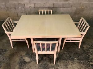 Mid Century Modern Dining Table With 6 Chairs And 3 Extensions