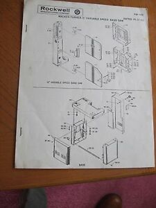 Walker Turner 16in Variable Speed Band Saw Assembly parts Manual Instructions