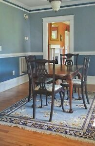 Antique English Table Ball And Claw Draw Leaf W 4 Chairs