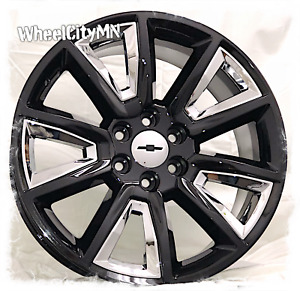 22 Inch Gloss Black Chrome 2016 Chevy Silverado Ltz Tahoe Oe Replica Rims 6x5 5
