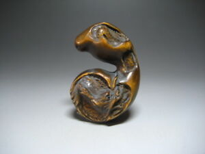 Netsuke Dragon In Gourd Japanese Antique Wooden Sculpture Ojime Okimono Inro