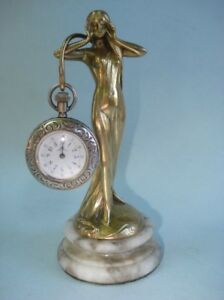19th Century French Art Nouveau Gilt Bronze Figural Female Watch Holder