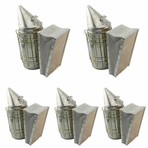 Set Of 5 Stainless Bee Hive Smoker Steel With Heat Shield Beekeeping Equipment