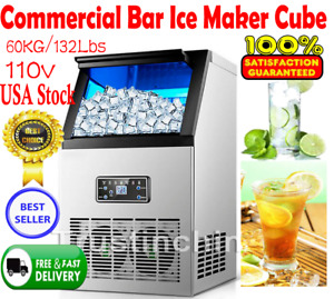 60kg 132lbs Commercial Bar Ice Maker Cube Machine Stainless Steel 270w 110v Us