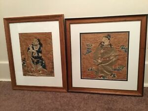 2 Antique Qi Ing 19th C Chinese Embroidered Silk Panels W Immortals Embroidery