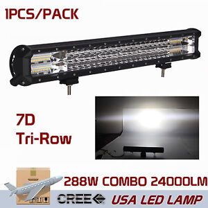 7d Tri Row 20inch 288w Combo Led Work Light Bar Spot Flood Trailer Boat Suv 4wd