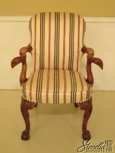 45720ec Carved Mahogany Open Arm Upholstered Chair