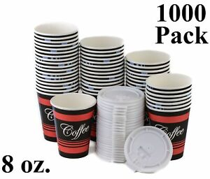 1000 Pack 8 Oz Poly Paper Disposable Hot Tea Coffee Cups With Flat White Lids