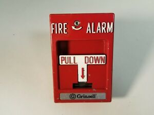 Simplex Grinnell Manual Pull Down Station Fire Alarm Vintage Metal