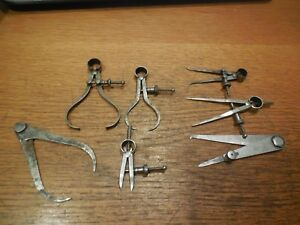 7 Assorted Small Starrett Machinist Calipers And Dividers