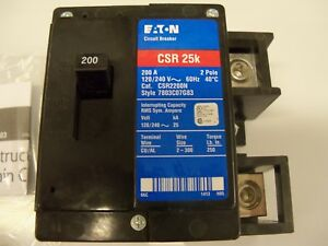 Eaton Csr2200n 200 Amp Main Circuit Breaker 2 Pole 120 240 Volt 25k new In Box