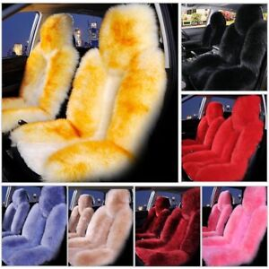 2 Car Suv Fuzzy Wool cashmere Seat Cover Cushion Sheepskin Touch Australian Kit