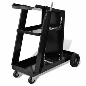 Black Trolley Welding Cart W 3 Shelves Universal Workshop Organizer Mig Welder