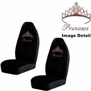 Pink Princess W Cute Crown Crystal Studded Rhinestone Seat Covers Pair