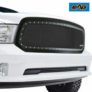 2013 2018 Dodge Ram 1500 Upper Grille Black Ss Mesh Rivets Matte Black Abs Shell