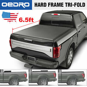 Oedro Tri fold Truck Bed Tonneau Cover For 2015 2018 Ford F 150 6 5 Bed