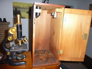 Antique Bausch Lomb Optical Microscope Patent Dates 1915 1925
